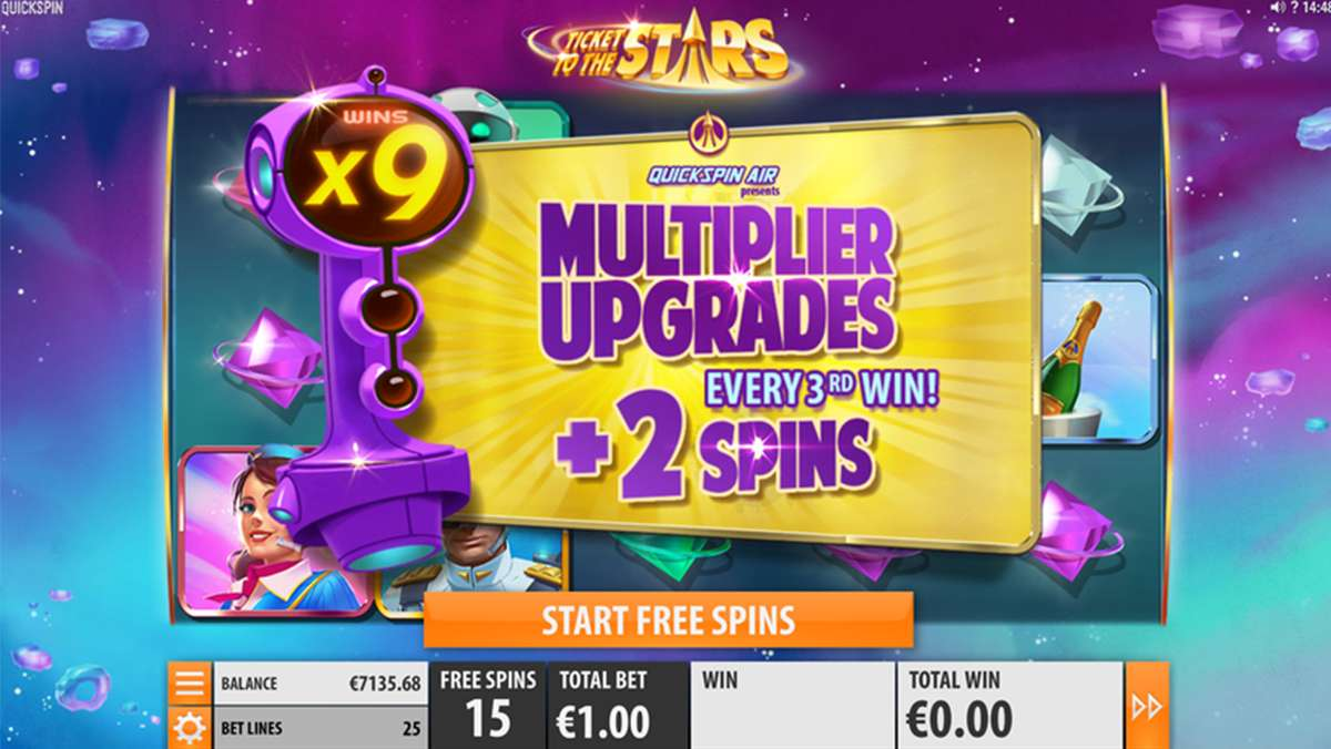 30 Free Spins on Ticket to the Stars this Monday