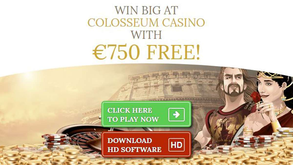 Colosseum Casino welcome bonus of 750 EUR FREE - view