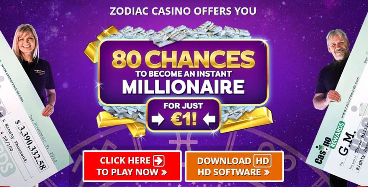 80 chances to become an instant millionaire for just 1 EUR at Zodiac Casino - view
