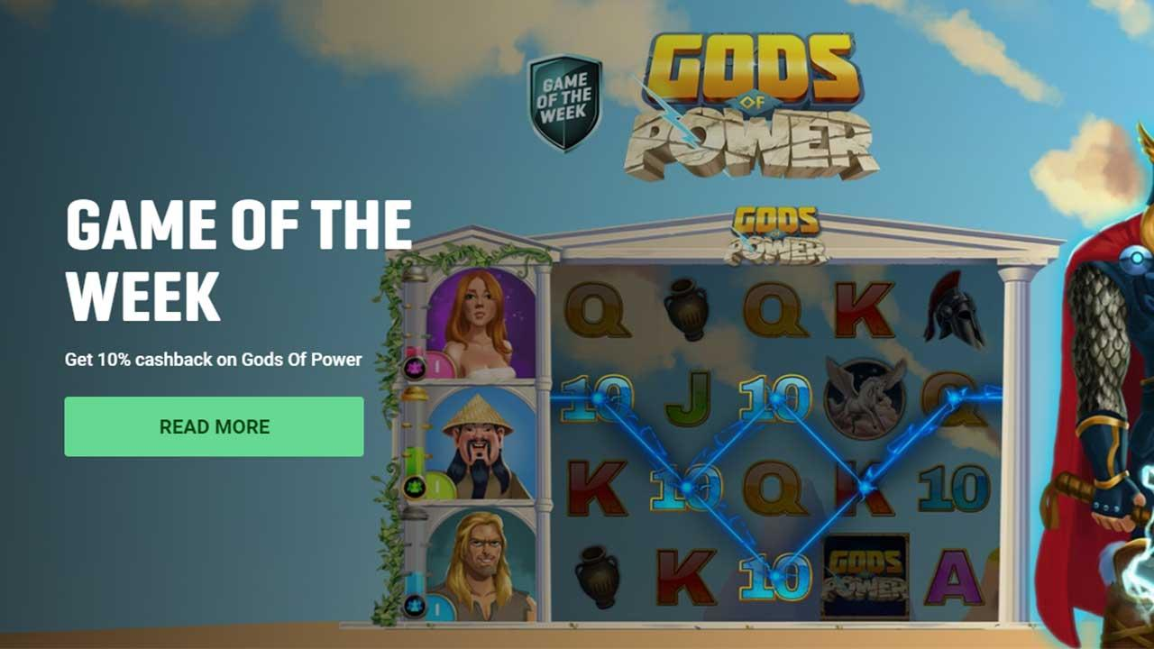 Get 10% cashback on Gods Of Power at Guts Casino