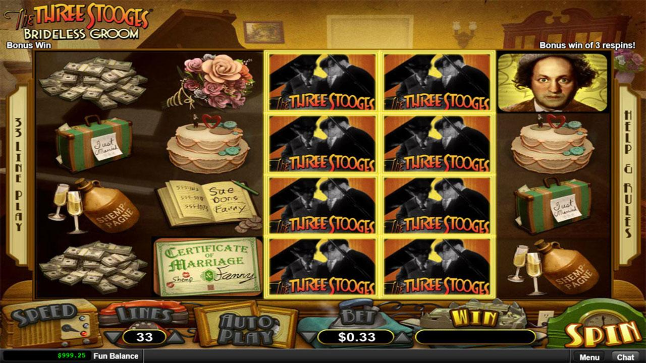 21 Free Spins on The Three Stooges® Brideless Groom at Slotocash Casino