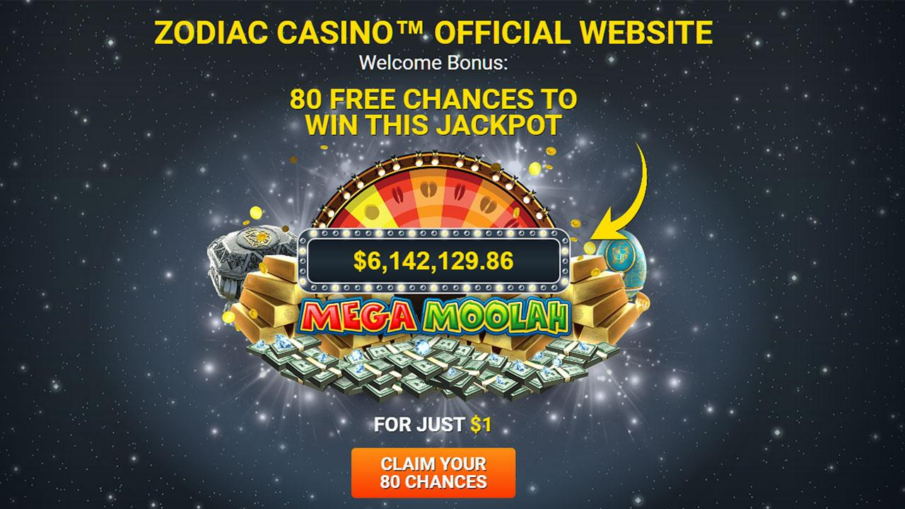80 chances to become an instant millionaire for just 1 USD at Zodiac Casino
