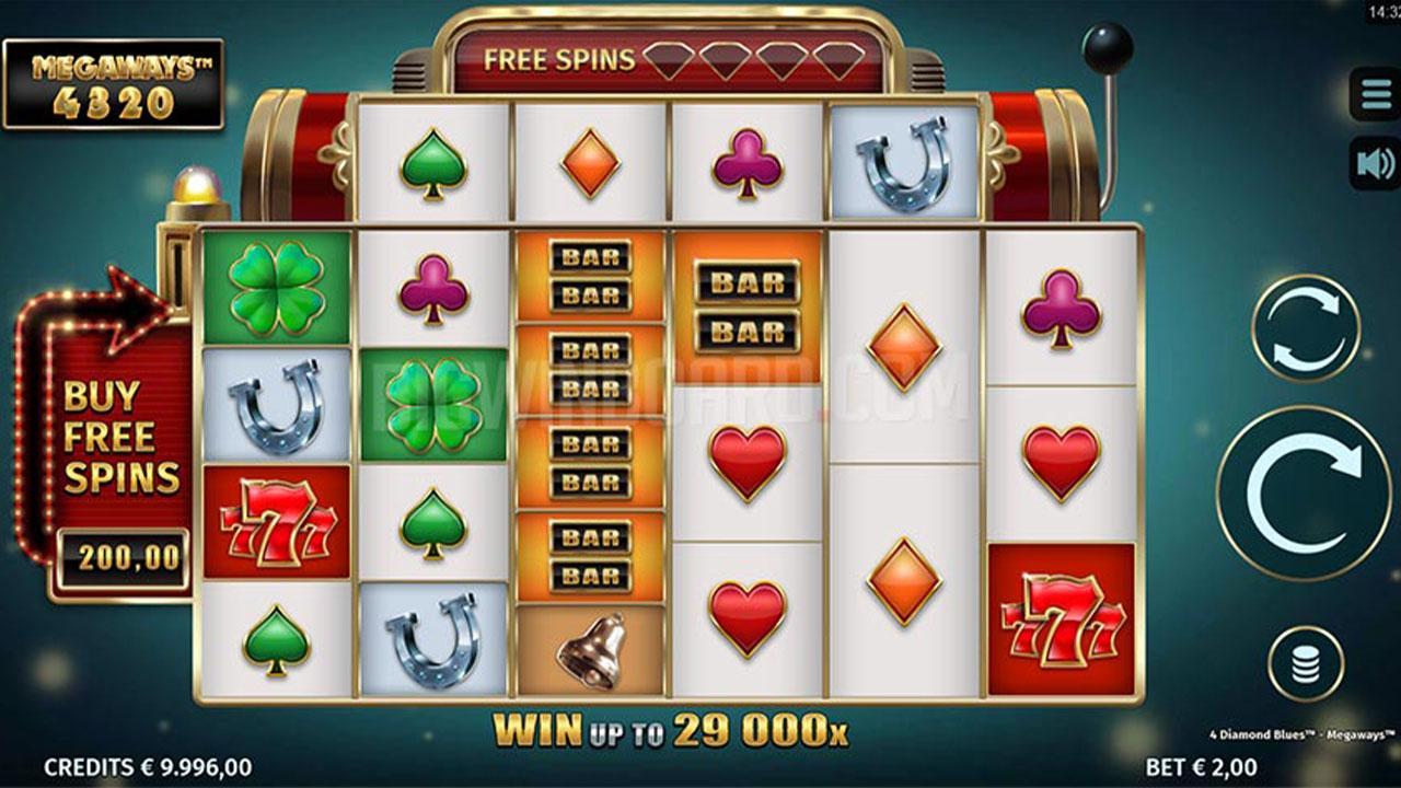 Play 4 Diamond Blues Megaways and WIN $100