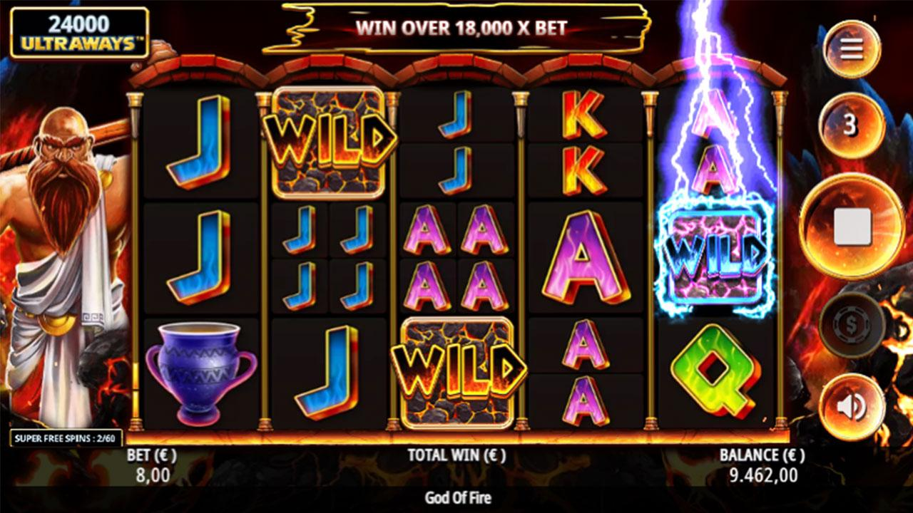 Play God Of Fire Ultraways and win $100
